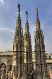 HDR photo of the white marble statues of Cathedral Duomo di Milano on piazza, Milan cityscape Royalty Free Stock Image