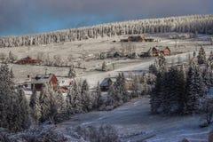 HDR Photo winter in Krkonoše mountain Royalty Free Stock Photos