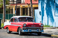 HDR red classic car with white roof in Varadero Cuba Stock Images