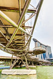 HDR Rendering of the Helix Bridge in Singapore Stock Photo