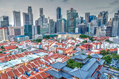 HDR Rendering of Singapore Chinatown and Skyline Royalty Free Stock Images