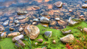 HDR of River edge rocks royalty free stock image