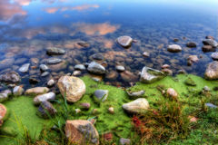 HDR of a Rocky River Bank Stock Image