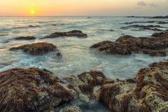 HDR-schot die van die oceaan de rotsen wassen met algen worden behandeld royalty-vrije stock afbeelding