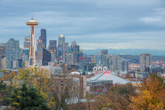 HDR Seattle Cityscape in Autumn Stock Image