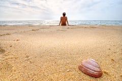 Hdr selvaggio di scena della spiaggia fotografia stock libera da diritti