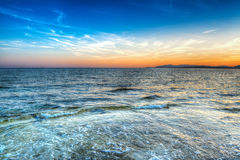 Hdr shore. Blue sunset in Alghero. hdr tone mapped Royalty Free Stock Photography