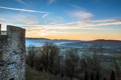 Winter sunset in east France castle countryside, Belvoir. HDR shot of Belvoir castle tower background landscape Royalty Free Stock Photography