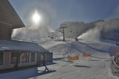HDR shot of ski resort with lifts at snowy sunny day Stock Photos