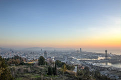 HDR skyline of Barcelona. An early morning panorama of barcelona from Montjuic royalty free stock photography