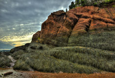 HDR St Martins Caves Seaweed Rock Formations Royalty Free Stock Photography