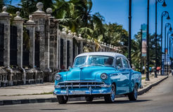 HDR - Street life scene on the malecon in Havana Cuba with american vintage car - Serie Cuba Reportage.  Royalty Free Stock Images
