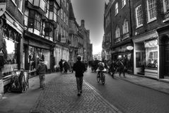 HDR Street view, Cambridge, UK. Moody HDR Image in Black and white of a street in Cambridge, UK Royalty Free Stock Image