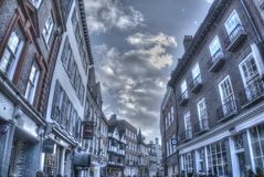 HDR Street view, Cambridge, UK. Moody HDR Image in tinted monochrome of a street in Cambridge, UK Royalty Free Stock Image