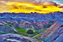 HDR Sunset in The Badlands. South Dakota, USA. High Dynamic Range Photography. HDR Photo Collection Stock Photos