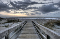 HDR of Tybee Island. In Georgia at Sunset Royalty Free Stock Photography