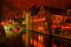 HDR View After Sunset Of Brugge, Belgium, Royalty Free Stock Photos