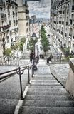 Staircase of Montmartre. HDR view of the staircase of Montmartre Stock Photography