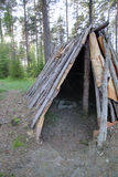HDR view into stone age tent Naesaaker in Sweden Royalty Free Stock Image