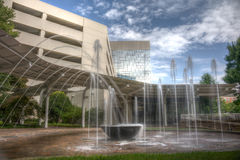 HDR Water Fountain. Long exposure captures slow flowing water fountain in Greenville, South Carolina Royalty Free Stock Images