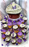 HDR Wedding Cake - Chocolate Cupcakes. HDR Wedding Cake - Beautiful Purple and White Chocolate Cupcakes Royalty Free Stock Photography