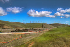 HDR Wind Mill Farms in Northern California Royalty Free Stock Photography