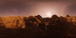 HDRI地图,与山脉的球状环境全景背景在黎明,使3d的光源equirectangular回报 免版税图库摄影