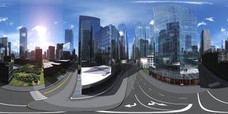 HDRI-översikt sfärisk panorama cityscape royaltyfri illustrationer