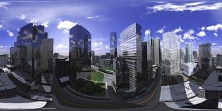 HDRI-översikt sfärisk panorama cityscape vektor illustrationer