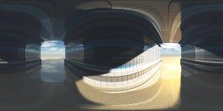 HDRI, карта окружающей среды, сферически панорама, равнопромежуточная проекция, предпосылки фабрики Стоковое Фото