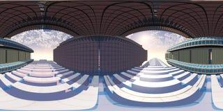 HDRI, карта окружающей среды, сферически панорама, равнопромежуточная проекция, предпосылки фабрики Стоковое Изображение