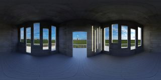 HDRI environment map, abstract spherical panorama background, empty apartment with panoramic view 3d equirectangular render vector illustration