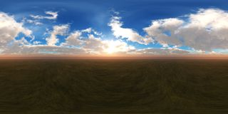 HDRI, environment map. Round panorama, spherical panorama, equidistant projection, sea sunset stock image
