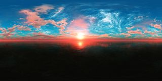 HDRI, environment map. Round panorama, spherical panorama, equidistant projection, sea sunset Royalty Free Stock Photography