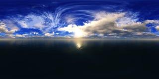 HDRI, environment map. Round panorama, spherical panorama, equidistant projection, sea sunset Stock Photo