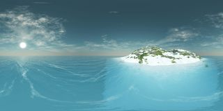 HDRI, environment map. Round panorama, spherical panorama, equidistant projection, land under heaven Royalty Free Stock Photo