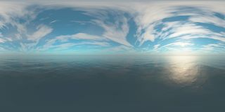 HDRI, environment map. Round panorama, spherical panorama, equidistant projection, sea sunset royalty free stock photos