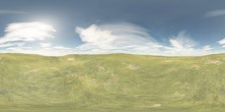 HDRI, equidistant panorama, Sferisch panorama Oase in de zandige desertent kaart Stock Fotografie