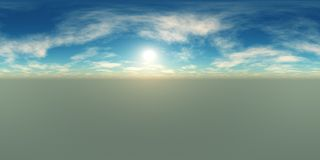 HDRI High resolution map. environment map. Round panorama, spherical panorama, equidistant projection of the sun in the clouds above the earth royalty free stock photo