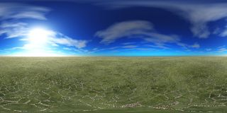 HDRI High resolution map. the sun in the clouds. Panoramic ocean sunset Royalty Free Stock Photography