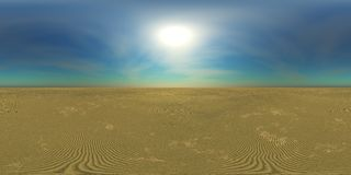HDRI High resolution map, sun over the desert Royalty Free Stock Image