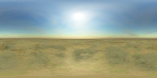 HDRI High resolution map, sun over the desert Royalty Free Stock Photography