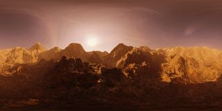 HDRI-kaart, de sferische achtergrond van het milieupanorama met bergketen bij zonsopgang, lichtbron die 3d equirectangular ren te Stock Afbeelding