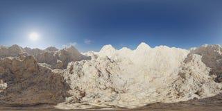 HDRI-kaart, de sferische achtergrond van het milieupanorama met bergketen, lichtbron die het 3d equirectangular teruggeven terugg Royalty-vrije Stock Fotografie