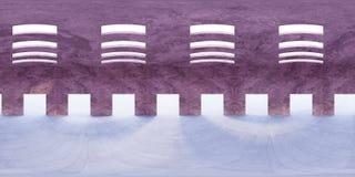 HDRI-milieukaart, moderne industriële abstracte sferische binnenpanoramaachtergrond die, lichtbron 3d equirectangular teruggeven Stock Foto