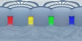 HDRI-miljööversikt, abstrakt sfärisk panoramabakgrund med den färgglade illustrationen för ljusa källor 3d Royaltyfri Fotografi
