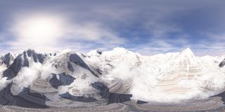 HDRI, panorama equidistante, panorama esférico Oásis no mapa desertent arenoso ilustração do vetor