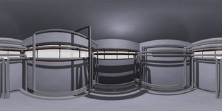 HDRI room with pipes, 3d illustration Royalty Free Stock Photo
