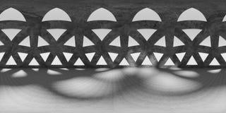 HDRI-Umweltkarte, abstrakter kugelförmiger Innenpanoramahintergrund, Lichtquelle übertragen equirectangular Illustration 3d Lizenzfreie Stockfotos