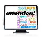 在HDTV电视上的注意机敏的公告词 免版税库存照片